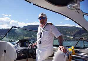 Kelowna Water Taxi Cruises is owned and operated by Peter Brady, offering private leisurely boat cruises and pre-booked water taxi services.